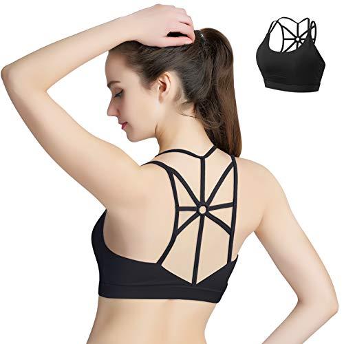 HBselect Sportbeha voor dames, bustier, gevoerde sportkleding, buikvrije sporttop met riemdesign aan de achterkant en…