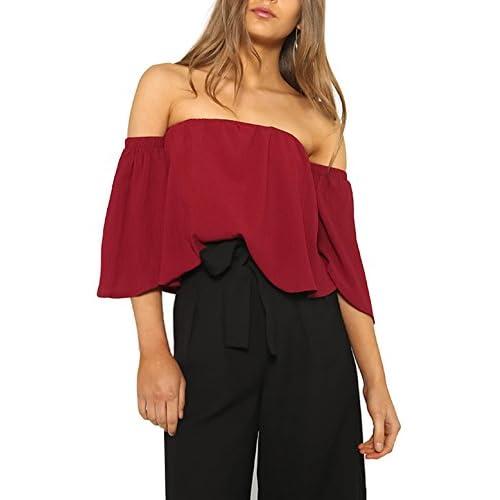 2effccd11a301 good Relipop Women s Off Shoulder Tops Short Sleeve Shirt Strapless Blouses