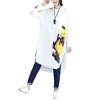 048cb18106e Plus Size Women Full Sleeve White Cotton Blouses Ladies Print ...