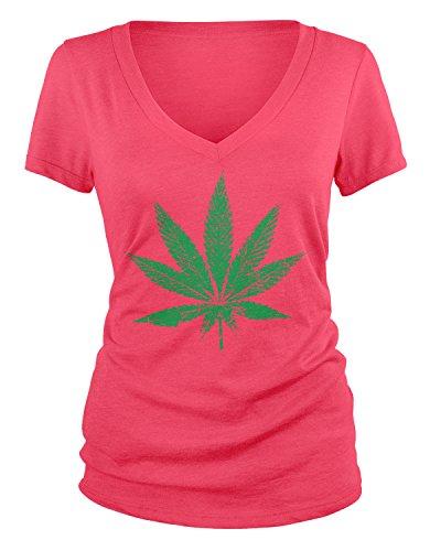 - Amdesco Junior's Weed Leaf, Faded and Distressed Pot Leaf V-Neck T-Shirt, Azalea Small
