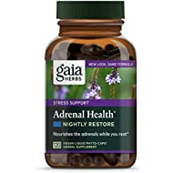 Gaia Herbs Adrenal Health Nightly Restore, Calming Sleep and Stress Support, Ashwagandha, Reishi, Cordyceps, Lemon Balm, Vegan Liquid Capsules, 120 Count
