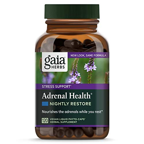 Gaia Herbs Adrenal Health Nightly Restore, Vegan Liquid Capsules, 120 Count - Calming Sleep and Stress Support, Ashwagandha, Reishi, Cordyceps, Lemon Balm (Best Herbs For Health)