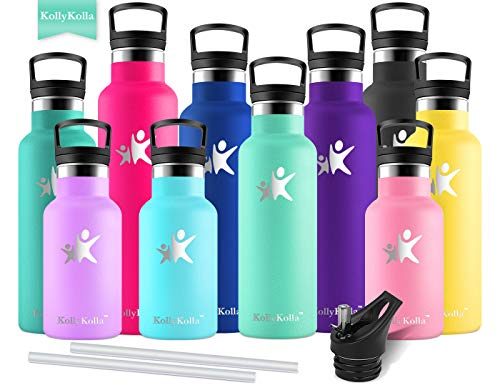 KollyKolla Vacuum Insulated Water Bottle Metal Water Bottles with Straw & Filter Hot & Cold Drinks Bottle Stainless Steel Thermoflask Leakproof Kids Sports Bottle(350ml Macaron - Block Thermo Steel Stainless