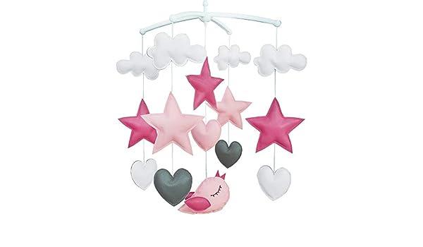 Wind-up Crib m/óvil, PU Cuero Juguetes colgantes Tono Rosa, P/ájaros