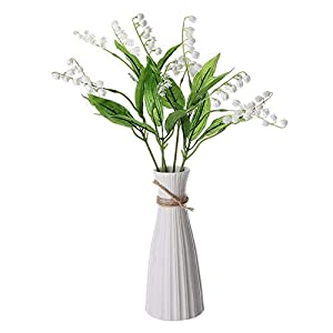 keebgyy Artificial Lily of The Valley, 6 Packs Simulation Chime Orchid Flower, for Marriage Home Table Decor, with Stem, 37cm Long(Vase not Included) 36