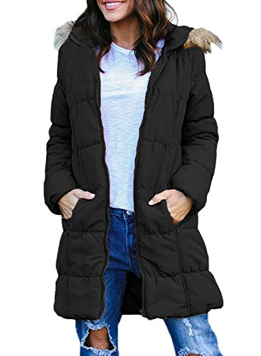 Dokotoo Womens Casual Warm Fashion Long Sleeve Zip Down Cotton Fur Trim Hooded Mid Length Long Quilted Puffer Coat Jackets Pockets Outerwear Black Small ()