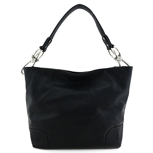 Bag Shoulder Hobo Big Snap Black Hardware with Hook ZZf5gqr
