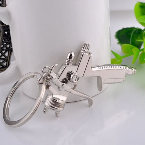 2 PCS SPRAY PAINT Gun Silver Metal KEY CHAIN Ring Keychain NEW