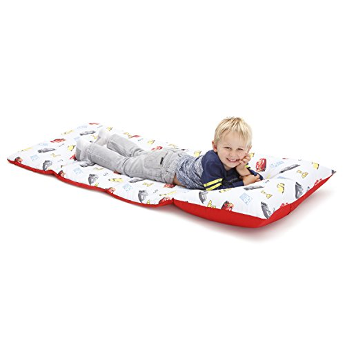 Disney Cars Padded Toddler Easy Fold Nap Mat with Attached Pillow Case - (Disney Cars Pillow)