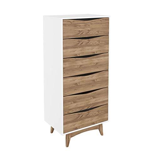(Manhattan Comfort CS48408 Hamilton Tall Narrow Midcentury Dresser, White/Natural Wood)