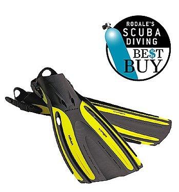Oceanic Viper Scuba Diving Open Heel Adjustable Scuba Diving Best Buy Dive Fins Snorkeling Water Sports, Yellow, XS (men 5-7 women 6-8)