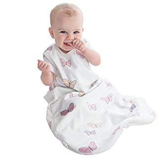 Woolino 4 Season Basic Merino Wool Baby Sleep Bag or Sack, 6-18m, Butterfly