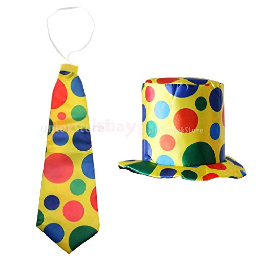 Clown Girl Costumes 46 (MAZIMARK--2Pcs Clown Jokers Jumbo Polka Dots Hat Necktie Fancy Dress Carnival Costume)
