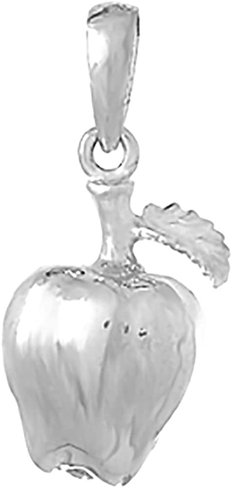 925 Sterling Silver Fruit Charm Pendant 3-D Apple with Stem and Leaf