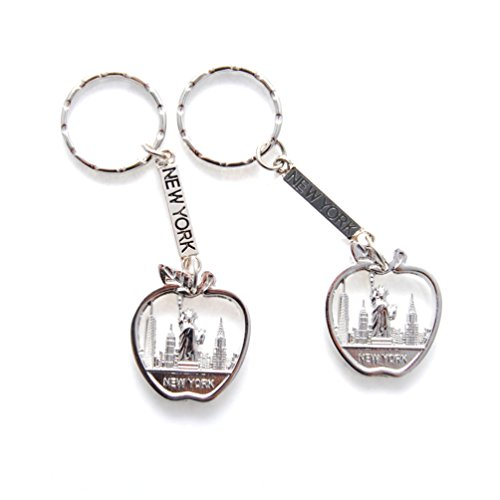 New York NYC Metal Keychain Big Apple Statue of Liberty NYC Souvenir (Pack 2) (Statue Chains Liberty Of)