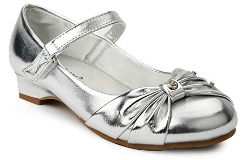 JELLY BEANS Girls Rhinestone Low Heel Pumps Dress Shoes with Bow Silver Size - Jelly Bean Girl