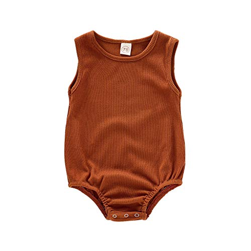 iHHAPY Newborn Infant Baby Girls Boys Romper,Summer Solid Sleeveless Cotton Bodysuit Jumpsuit Clothes Brown