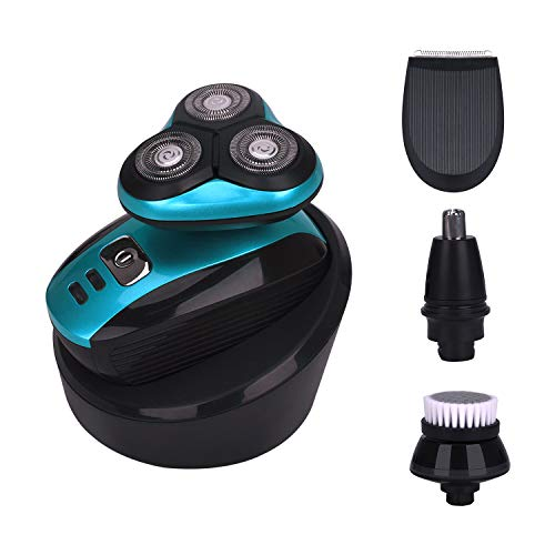 ELECTRFIRE Electric Shaver Razor Wet&Dry Shaver Bald Head Shaver Beard Trimmer for Men 4 in 1 Trimmer Grooming Kit Nose Hair Trimmer Facial Cleansing Brush Waterproof USB Rechargeable