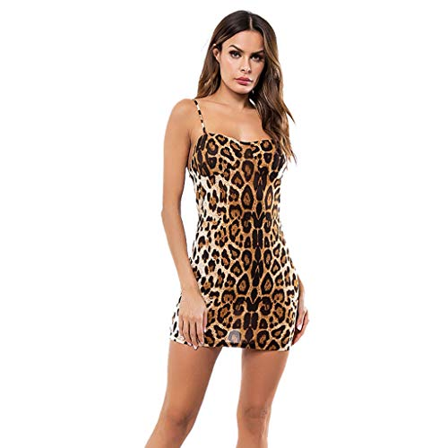 's Sleeveless Sexy Sling Leopard Mini Dress Party Backless Dresses ()