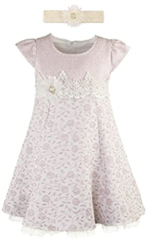 Lilax Little Girls' Rose Flocked Toddler Occasion Shimmer Dress with Headband 5T Pink