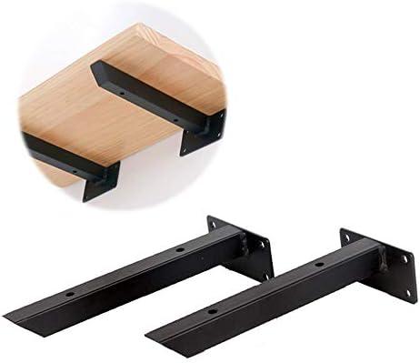 金属 棚受け金具 隠し ブラケット ブラック 壁掛け 棚受け ブラケットアイアン フローティング棚 6サイズ、2個セット 、ネジ付き
