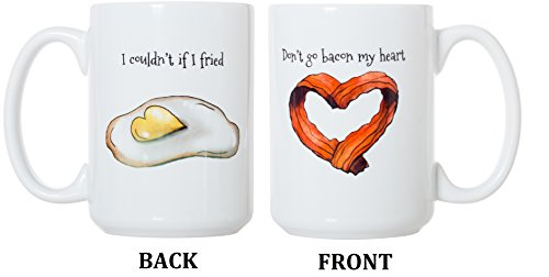 Don't Go Bacon My Heart/I Couldn't If I Fried 15 oz Deluxe Large Double-Sided Mug