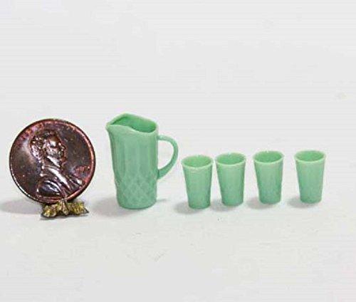 Chrysnbon Dollhouse Miniature Pitcher and Glasses Set in Jadeite ()