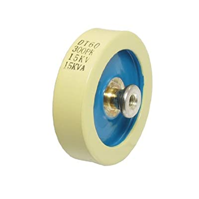 DealMux Beige Blue 300PF 15KV 15KVA Door Knob High Voltage HV Ceramic Capacitor