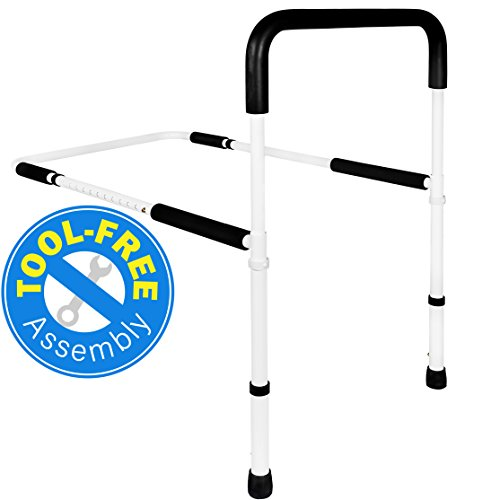 Adjustable Back Bar - Medical Adjustable Bed Assist Rail Handle and Hand Guard Grab Bar, Bedside Safety and Stability (Tool-Free Assembly)