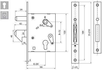 KOTARBAU - Cerradura de gancho para puerta corredera F-60 ...