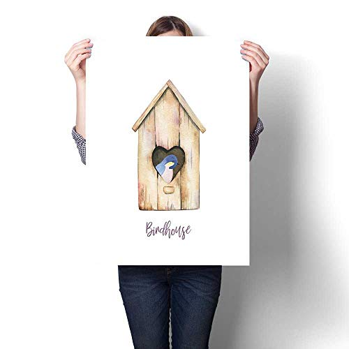 Birdhouse Gator - Anshesix Hanging Painting Watercolor Bird in a Birdhouse Ready to Hang for Home Decorations Wall Decor 24