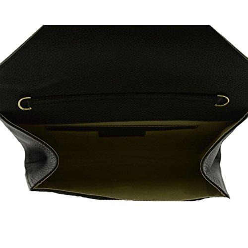 Pochette Busta In Vera Pelle Con Tracolla Rimovibile Colore Nero - Pelletteria Toscana Made In Italy - Borsa Donna