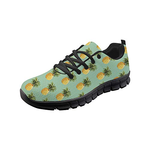 Bigcardesigns Go Easy Walking Running Sneakers Women Mesh Fiber Breathable Sport Shoes Pineapple Printed Size 11 B(M) Women-EUR 41
