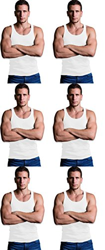 Andrew Scott Men's 6 Pack Cotton A-Shirt Tanks (X-Large, White)
