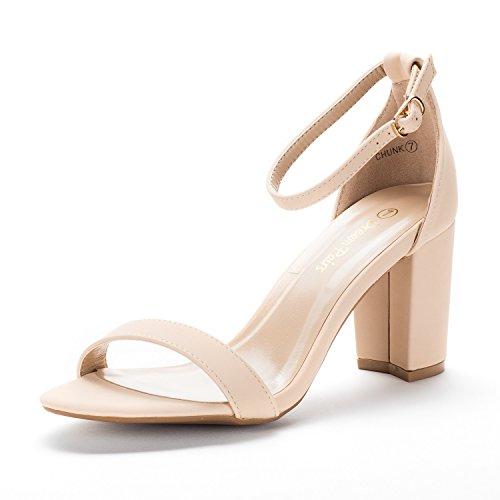 Nubuck Leather Wedge - DREAM PAIRS Women's Chunk Nude Nubuck Low Heel Pump Sandals - 6 M US