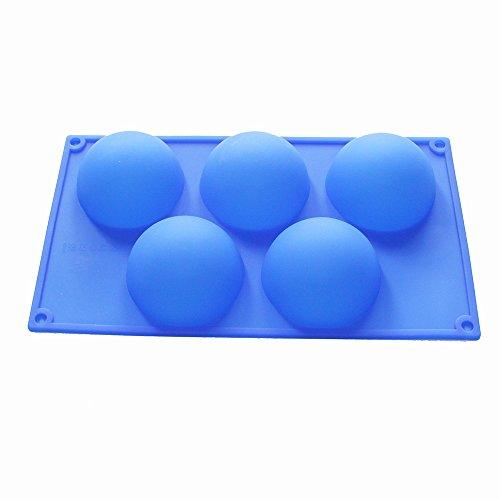 X Haibei Round Hemisphere Dome Soap Muffin Cake Jello Pudding Silicone Mold Tray