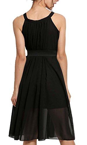 cooshional Vestido suelto mujer sin mangas de gasa con cuello redondo y cinturón Negro