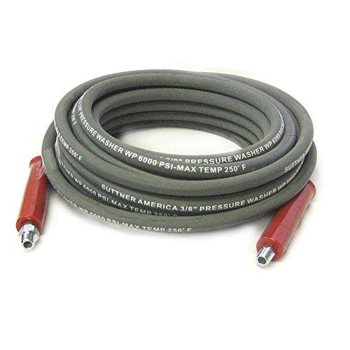 Suttner B3V58101 100' Gray 6000 PSI 3/8'' Pressure Washer Hose MNPT x M Swivel by Suttner