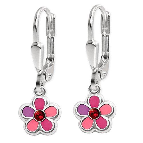 CLEVER SCHMUCK Conjunto de pendientes y colgante a juego, diseño de flor rosa y lila con circonita rosa, cadena Venezia de 40 cm