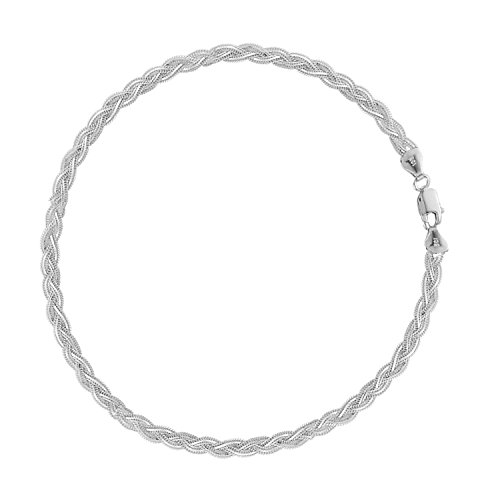Ritastephens 14K White Gold Braided Anklet Ankle Bracelet 10 Inches