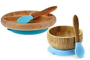 """""""Maven Gifts:Avanchy Feeding Bamboo Spill Proof Stay Put Suction Bowl - Great Baby Gift Set, Blue with Avanchy Feeding Bamboo Spill Proof Stay Put Suction Divided Plate - Great Baby Gift Set, Blue """""""
