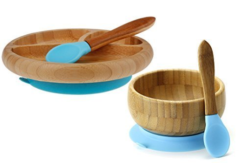 Maven Gifts: Avanchy Baby Feeding Gift Set - Bamboo Stay Put Suction Bowl with Spoon, Blue, and Bamboo Stay Put Suction 3-Section Plate with Spoon, Blue- Ages 6 Months and Up