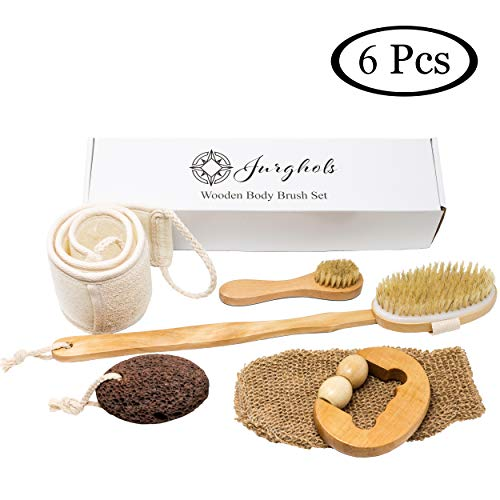 (6 Pcs Premium Boar Bristle Shower Brush Set - Dry Brushing Set, Facial Brush, Bath Brush with a long detachable wooden handle, Back Scrubber Belt, Pumice Stone, Bath Mitt and Wooden Roller Massager.)
