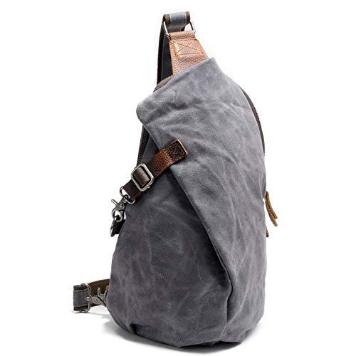 e uomini di impermeabile libero zaino tempo retrò tracolla borse petto per donne grigio nero a semplice il multifunzionale Hkang® tela borsa borsa Hdw0qCvwY