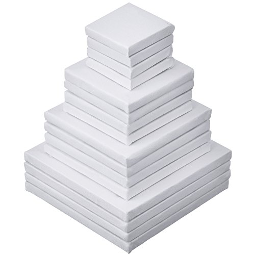 Shappy 16 Pieces Mini Canvas Art Stretched for Craft Painting Drawing, 4 Sizes (2 x 2 inches, 3 x 3 inches, 4 x 4 inches, 5 x 5 inches), 4 Pieces Each Size by Shappy