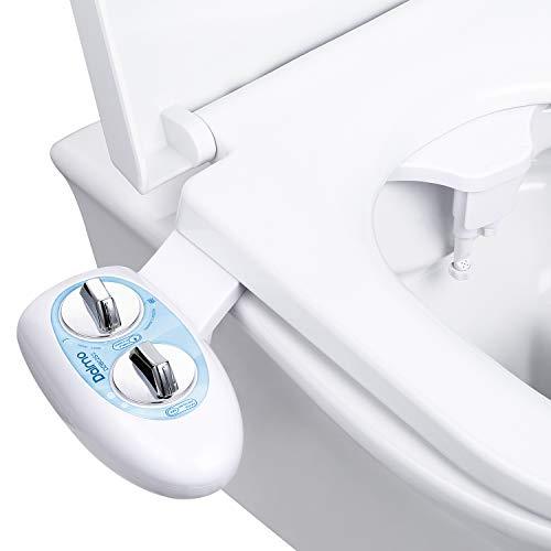 Dalmo Bidet Toilet Attachment, Non-Electric Self-cleaning Dual Nozzle (Posterior/Feminine Wash) Fresh Cold Water Sprayer Bidet, Adjustable Water Pressure Bidet Sprayer for Toilet