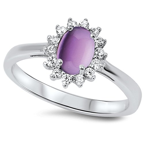 CHOOSE YOUR COLOR Sterling Silver Oval Flower Halo Ring