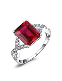 JewelryPalace Emerald Cut 4.6ct Created Red Ruby Promise Ring 925 Sterling Silver