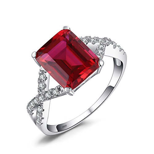 Ruby Womens Ring (ewelryPalace Women's Emerald Cut 4.6ct Created Red Ruby Promise Ring 925 Sterling Silver Size 8)