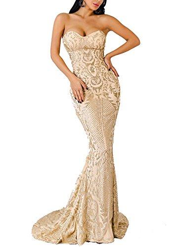 LinlinQ Women's Sexy Off Shoulder Bustier Glitter Floor-Length Prom Gown Dress Gold L